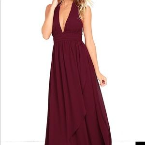 Stop and Stare Lulus burgundy dress